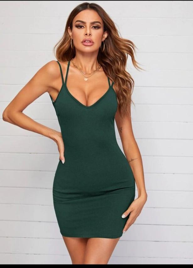 Green Crisscross Open Back Bodycon Dress